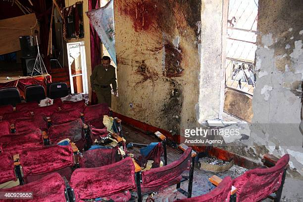 A view of the site where a bomber blew himself up inside a cultural center in the Ibb city of Yemen as the members of Shiite Ansarullah group known...