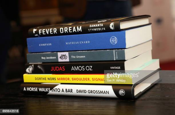 A view of the six books featured in the shortlist at a photocall for the shortlisted authors and translators for the Man Booker International Prize...