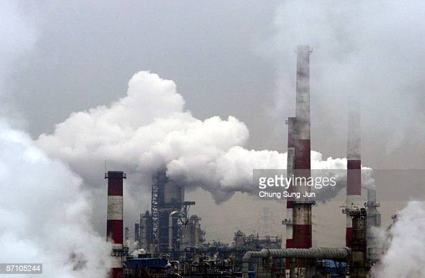 View of the SK Corporation oil refiner on March 16 2006 in Ulsan South Korea The SK Corporation is Asia's leading energy and petrochemical company...