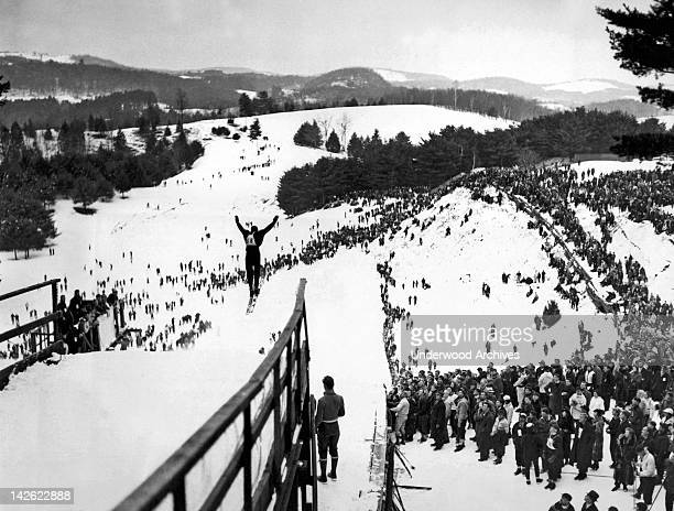 A view of the ski jump at the annual Winter Carnival of the Dartmouth Outing Club Hanover New Hampshire February 6 1937 Shown here is Jarvis...