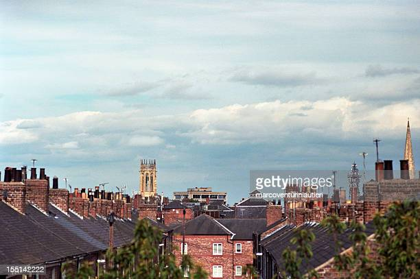 A view of the sky and rooftops in York