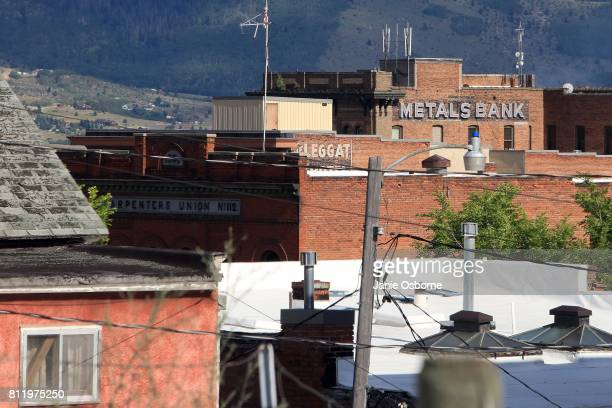 A view of the skyline in downtown Butte on July 6 2017 in Butte Montana Butte is home to the toxic Berkeley Pit Formerly an open pit copper mine...