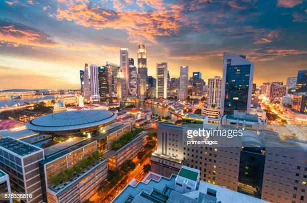 Blick auf die Skyline von Singapur Innenstadt CBD