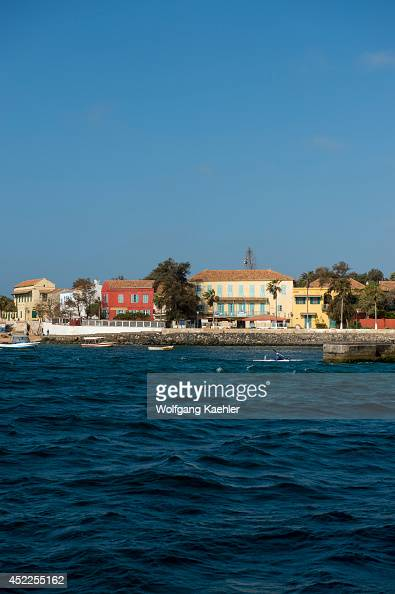 View of the small harbor of Goree Island in the Atlantic Ocean outside of Dakar in Senegal West Africa
