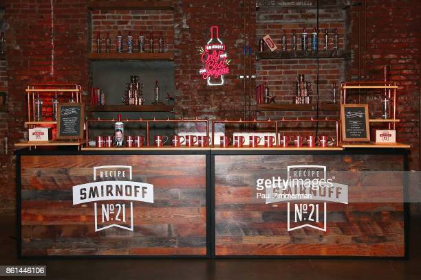 A view of the Smirnoff Specialty Bar during the Jimmy Kimmel Live Welcome to Brooklyn kickoff hosted by SMIRNOFF vodka at Pioneer Works on October 14...