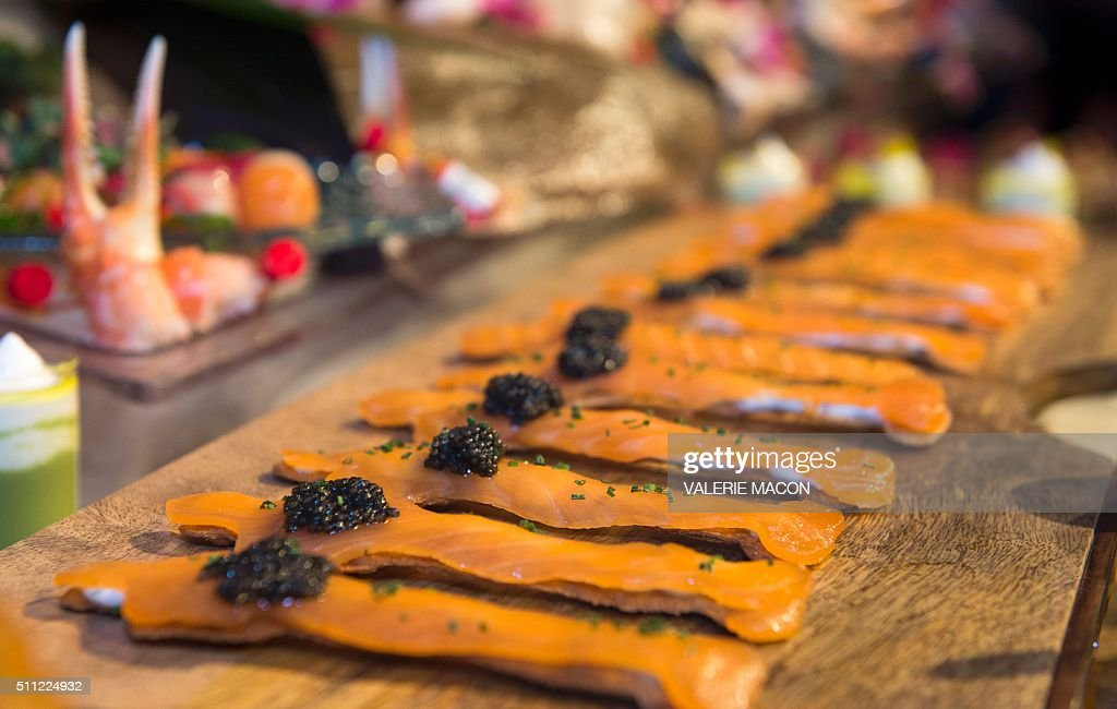View of the smoke salmon Oscar Matzo during the Oscar Governors Ball preview in Hollywood California on February 18 2016 MACON