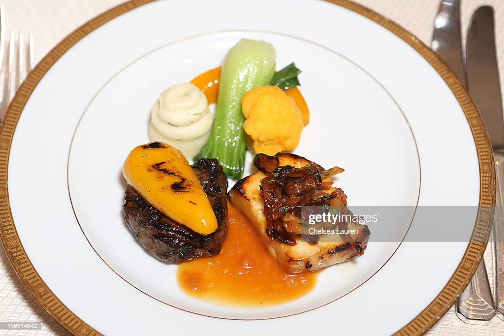 A view of the smoked flat iron beef with grilled sweet pickled pepper and California olive oil orange Chilean sea bass with caramelized mint fennel...
