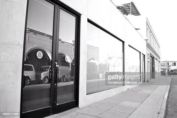 View of the Snapchat logo on the door of their new headquarters at 63 Market St on November 15 2013 in Los Angeles California