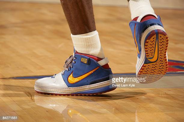 A view of the sneakers of LeBron James of the Cleveland Cavaliers during the game against the Charlotte Bobcats on January 7 2009 at Quicken Loans...