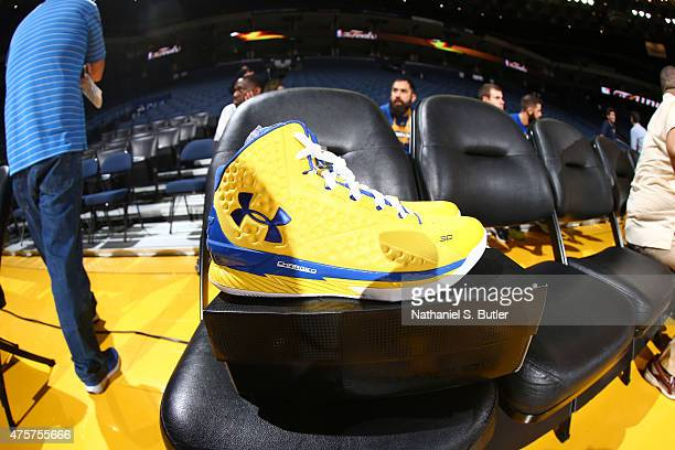 A view of the sneakers of Stephen Curry of the Golden State Warriors during media availability as part of the 2015 NBA Finals on June 3 2015 at...