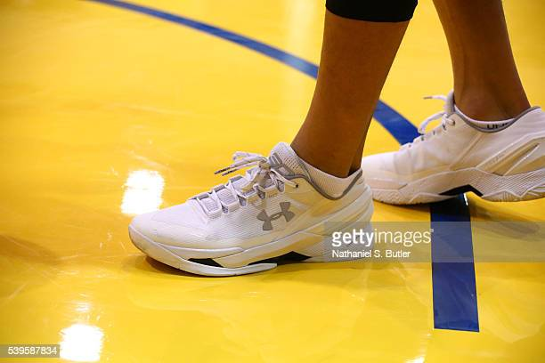 A view of the sneakers of Stephen Curry of the Golden State Warriors during practice and media availability as part of the 2016 NBA Finals on June 12...