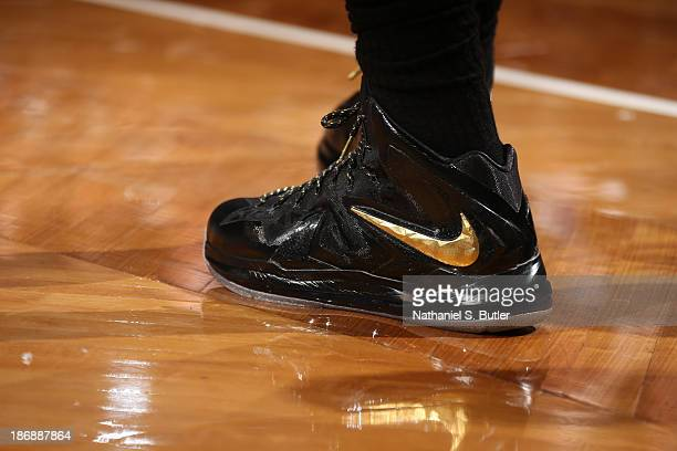 A view of the sneakers worn by LeBron James of the Miami Heat during the game against the Brooklyn Nets at Barclays Center on November 1 2013 in the...