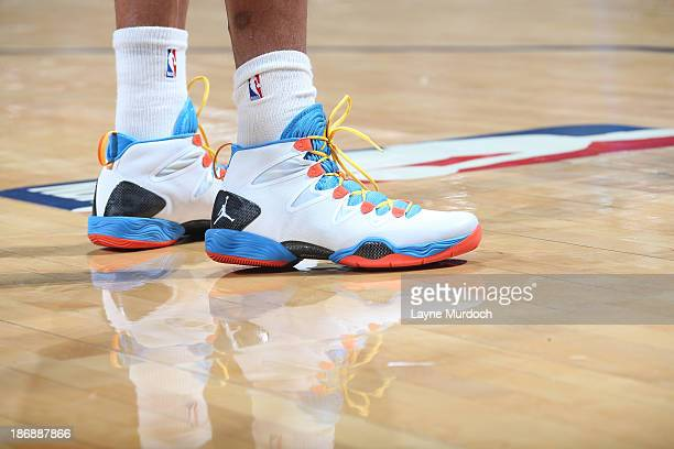 A view of the sneakers worn by Russell Westbrook of the Oklahoma City Thunder in the game against the Phoenix during an NBA game on November 3 2013...
