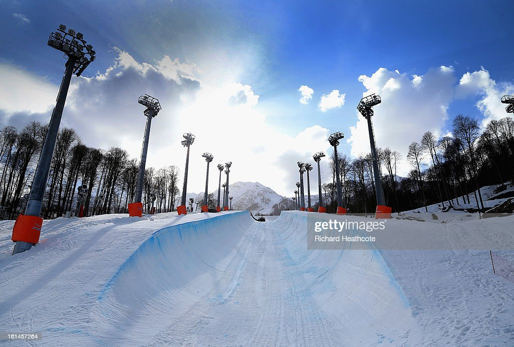 A view of the Snowboard Half Pipe in the Extreme Park up at the Rosa Khutor Alpine Ski Resort on February 11, 2013 in Sochi, Russia. Sochi is preparing for the 2014 Winter Olympics with test events across the venues.