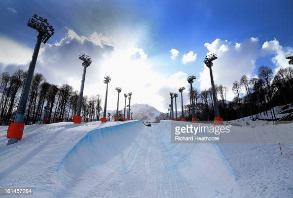 A view of the Snowboard Half Pipe in the Extreme Park up at the Rosa Khutor Alpine Ski Resort on February 11 2013 in Sochi Russia Sochi is preparing...