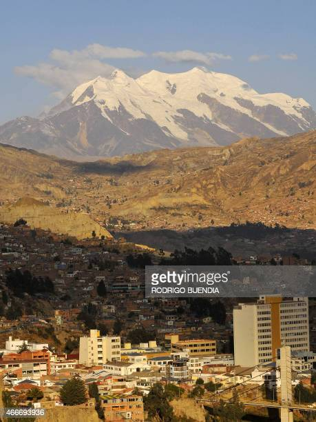 A view of the snowcapped Illimani mountain as seen from La Paz on August 9 2008 Fear has been mounting in Bolivia that an upcoming referendum on...