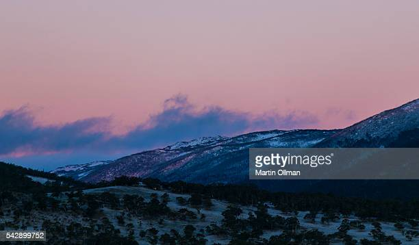 A view of the Snowy Mountains Great Dividing Range in Kosciuszko National Park on June 25 2016 in Jindabyne Australia Snow has been forecast across...