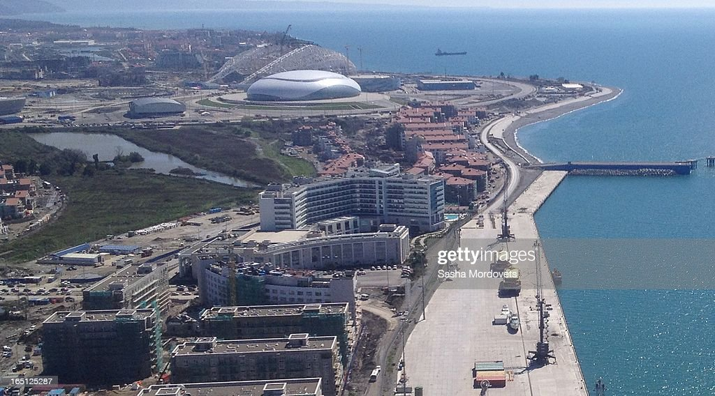 A view of the Sochi Olympic Park and the Olympic Village from the air in Sochi on March, 2013 in Russia. Sochi will host the 2014 Winter Olympics.