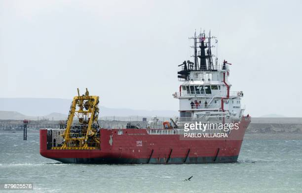 View of the Sophie Siem vessel leaving the Comodoro Rivadavia harbour after the US Navy Undersea Rescue Command installed its deep diving rescue...