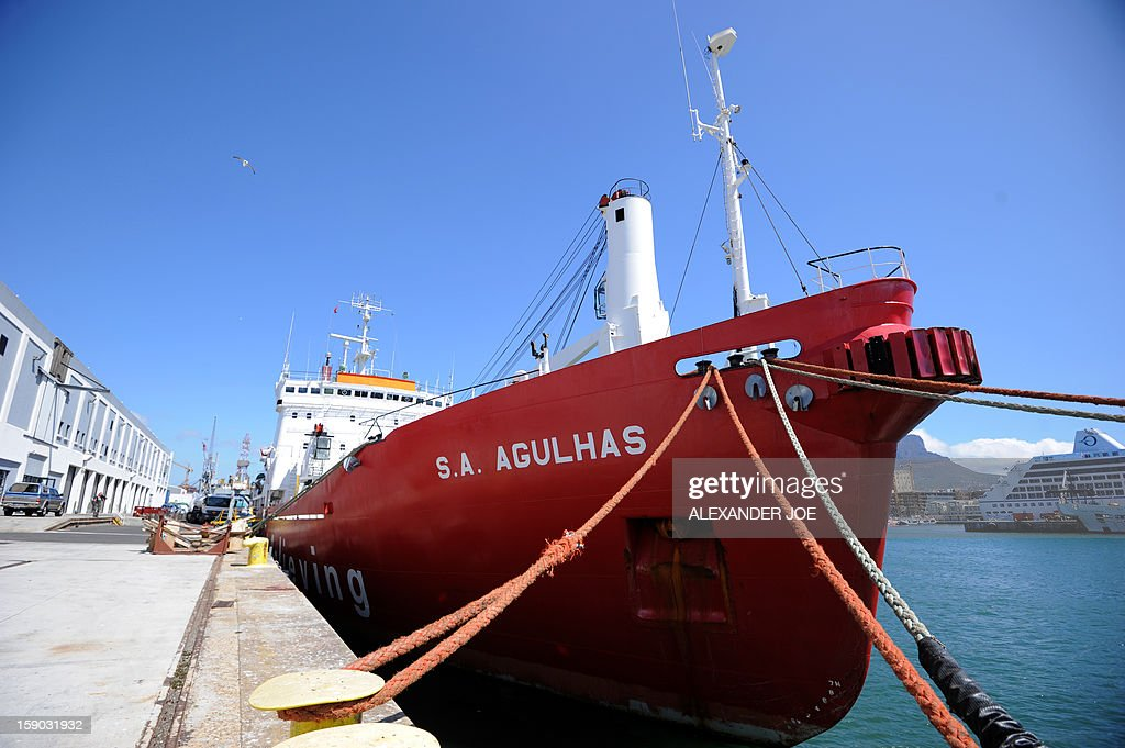 A view of the South African ship Agulhas which will be used in an expedition to complete the last great polar challenge - crossing Antarctica in winter - on January 6, 2013, in Cape Town. Explorers Sir Ranulph Fiennes and Anton Bowring are leading a team of explorers in this journey to cross Antarctica in the winter. Their attempt aims at raising 10 million US dollars for Seeing is Believing, an organization tackling avoidable blindness. The challenge will take six months - mostly in complete darkness - for more than 2,000 miles. In total, the team will spend an estimated 273 days on the ice, and once under way, travel at an average of 35km per day.
