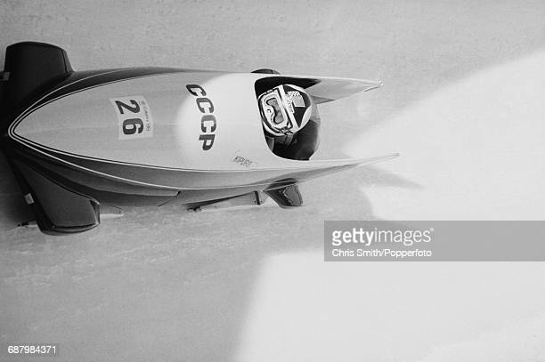 View of the Soviet Union 1 twoman bobsleigh team of Janis Kipurs and Vladimir Kozlov in action during competition to finish in first place to win the...