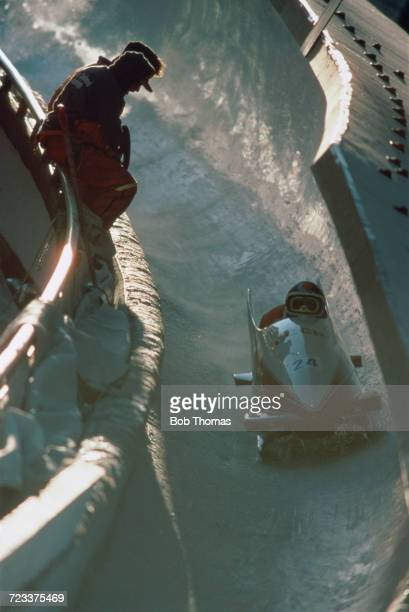 View of the Soviet Union 2 twoman bobsleigh team of Zintis Ekmanis and Aivars Trops in action during competition to finish in 9th place in the 2man...