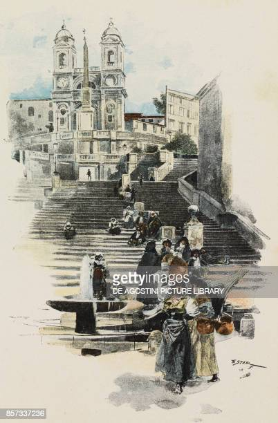 View of the Spanish Steps from Piazza di Spagna Rome Italy illustration by Friedrich Stahl for Through the streets of Rome reportage by Benedetto...