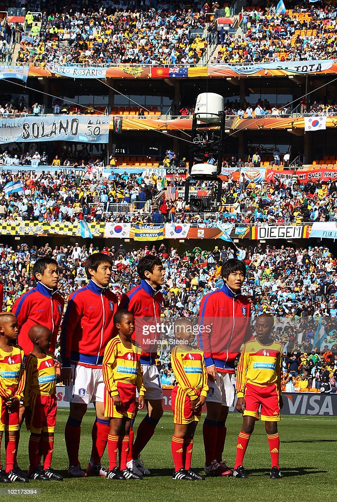 A view of the spidercam system above the South Korea team prior to the 2010 FIFA World Cup South Africa Group B match between Argentina and South...