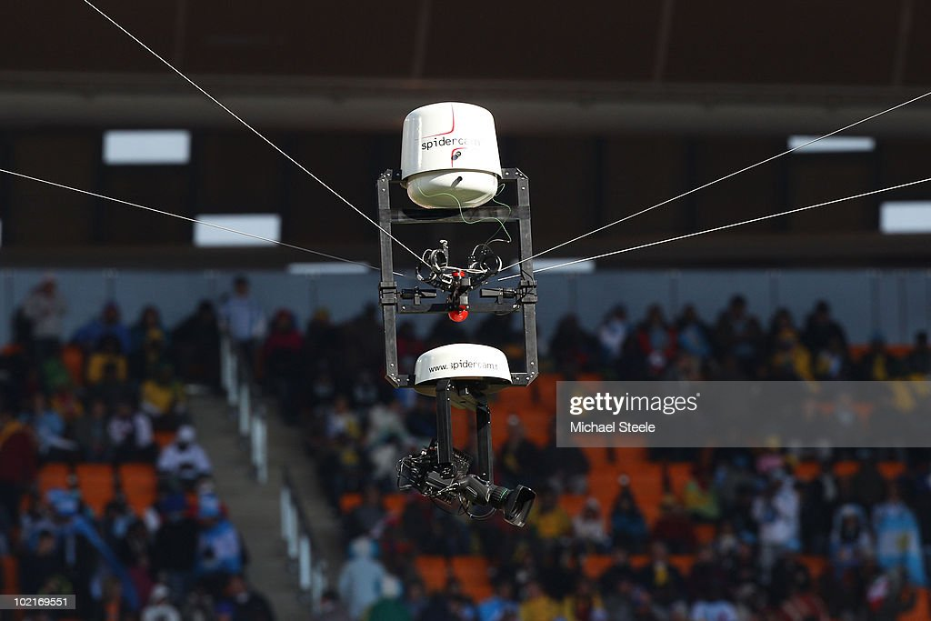 A view of the spidercam system prior to the 2010 FIFA World Cup South Africa Group B match between Argentina and South Korea at Soccer City Stadium...