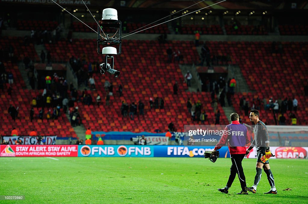 A view of the spidercam system prior to the 2010 FIFA World Cup South Africa Group H match between Chile and Switzerland at Nelson Mandela Bay...