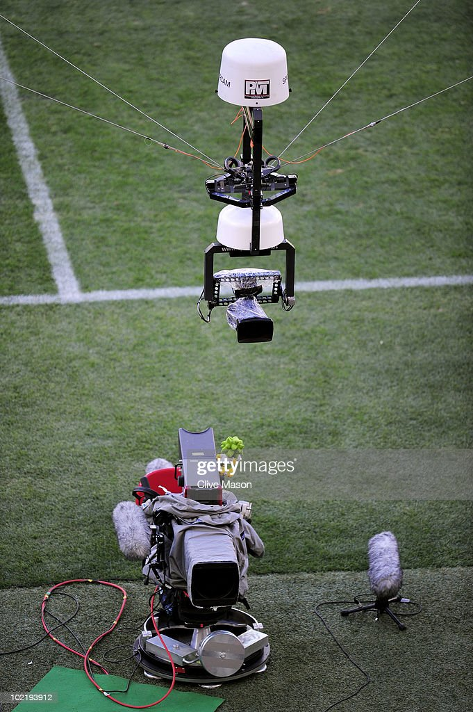 A view of the spidercam system prior to the the 2010 FIFA World Cup South Africa Group D match between Germany and Serbia at Nelson Mandela Bay...