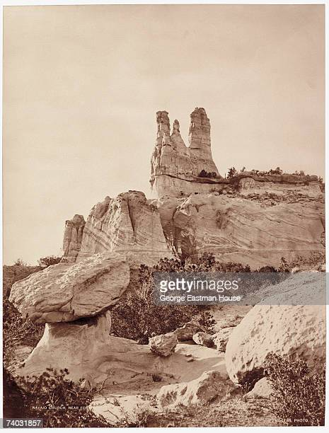 View of the spires of Church Rock near Gallup New Mexico 1870s