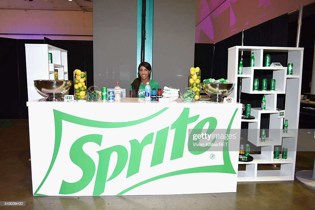 A view of the Sprite station in the green room at the celebrity basketball game during the 2016 BET Experience at the JW Marriott Los Angeles L.A. Live on June 25, 2016 in Los Angeles, California.