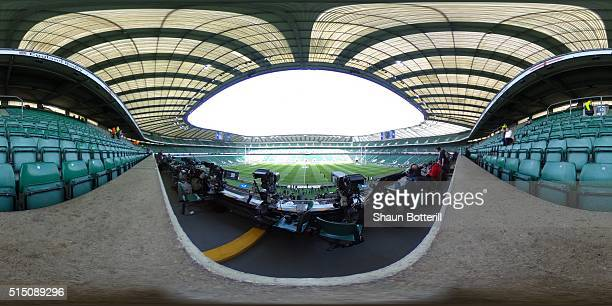 A view of the stadium ahead of the RBS Six Nations match between England and Wales at Twickenham Stadium on March 12 2016 in London England