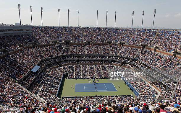 View of the stadium as Kei Nishikori of Japan plays Novak Djokovic of Serbia during their US Open 2014 men's singles semifinals match at the USTA...