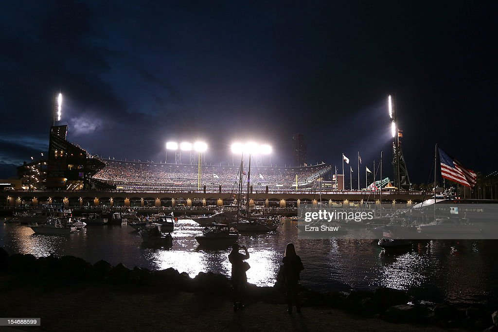A view of the stadium from McCovey Cove during Game One between the San Francisco Giants and the Detroit Tigers in the Major League Baseball World Series at AT&T Park on October 24, 2012 in San Francisco, California.