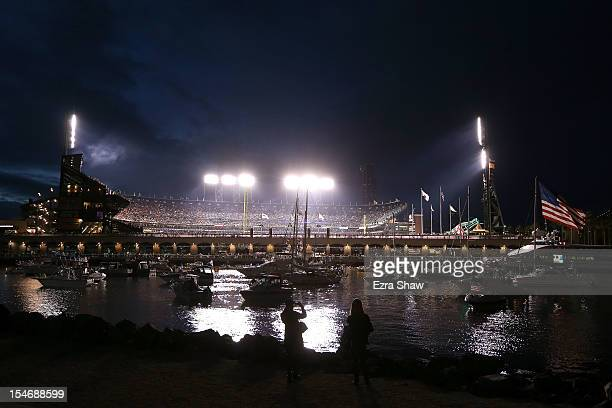 A view of the stadium from McCovey Cove during Game One between the San Francisco Giants and the Detroit Tigers in the Major League Baseball World...