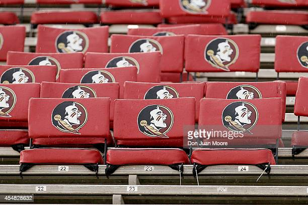 A view of the stadium seats with the new Florida State Seminoles logo before playing a game against the Citadel Bulldogs at Doak Campbell Stadium on...
