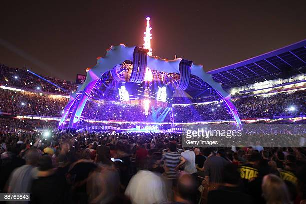 A view of the stage as U2 perform onstage on the first night of their 360 tour held at Camp Nou on June 30 2009 in Barcelona Spain