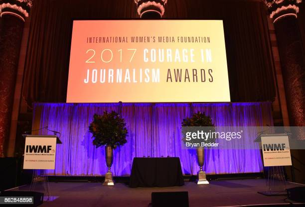A view of the stage at The International Women's Media Foundation's 28th Annual Courage In Journalism Awards Ceremony Arrivals at Cipriani 42nd...