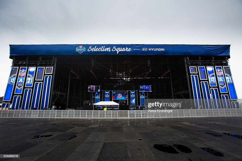 A view of the stage at the NFL Draft Town , prior to the start of the 2016 NFL Draft on April 28, 2016 in Chicago, Illinois.