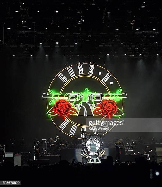 A view of the stage before the Guns N' Roses performance during day 2 of the 2016 Coachella Valley Music Arts Festival Weekend 2 at the Empire Polo...