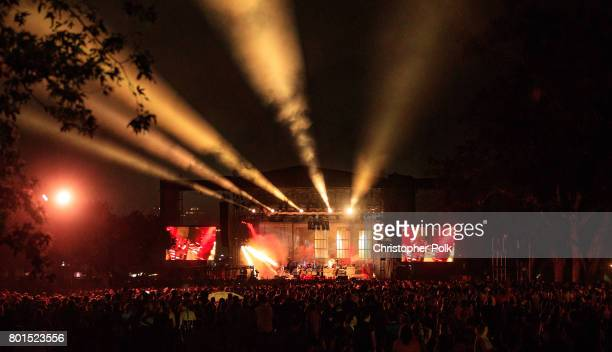 View of the stage during Mumford Sons performance at Arroyo Seco Weekend at the Brookside Golf Course at on June 25 2017 in Pasadena California