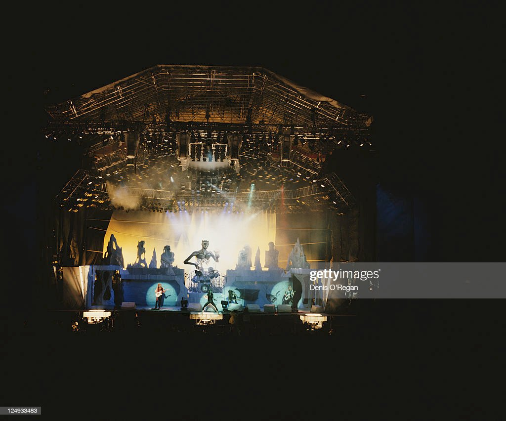 A view of the stage show during a concert by British rock group Iron Maiden at the Monsters of Rock festival at Donnington Park Leicestershire 20th...