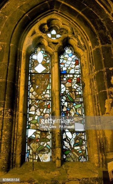 A view of the stained glass window before it has been repaired in the Minster in Howden