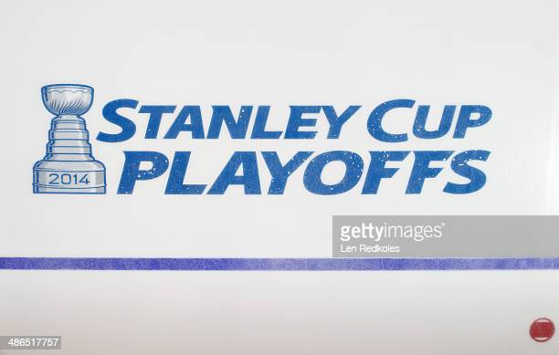 A view of the Stanley Cup Playoff logo on the home ice of the Philadelphia Flyers prior to Game Three of the First Round of the 2014 Stanley Cup...