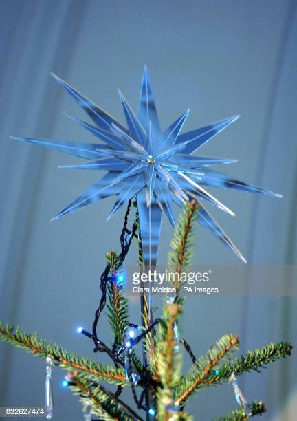 View of the star on the top of the Christmas tree designed by British fashion and homeware designer for the Grand Entrance of the Victoria and Albert...