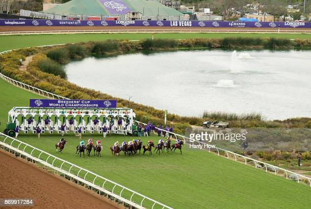 A view of the start during the Breeder's Cup Juvenile Turf on day one of the 2017 Breeder's Cup World Championship at Del Mar Race Track on November...