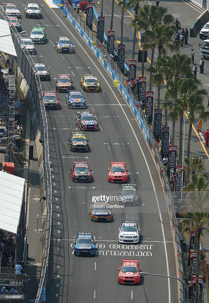 A view of the start of race 23 of the Gold Coast 600, which is round 12 of the V8 Supercars Championship Series at the Gold Coast Street Circuit on October 21, 2012 on the Gold Coast, Australia.
