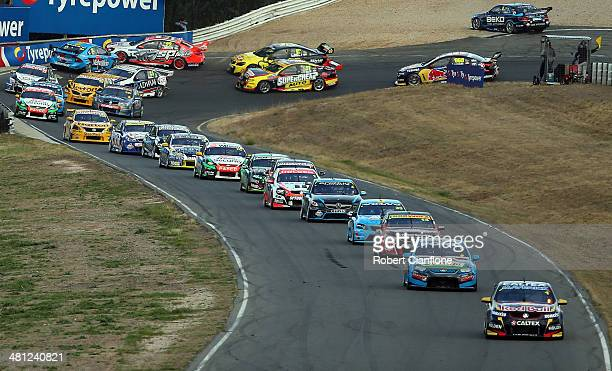 A view of the start of race five of the Tasmania 400 which is round two of the V8 Super Championship Series at Symmons Plains Raceway on March 29...